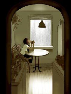 Artist Perfectly Captures The Intimate Magic Of Living Alone Living Alone, Joy Of Living, Alone Art, Art Antique, Cartoon Wallpaper, Cute Illustration, Aesthetic Art, Cute Drawings, Cute Art