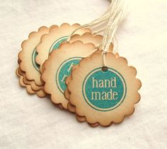 Handmade Hang Tags  Circle Tags Scalloped by SweetlyScrappedArt
