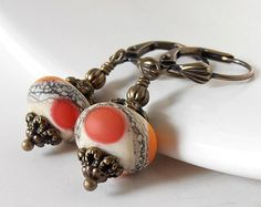 Beaded Earrings, Orange Lampwork Glass Bead Dangles in Antiqued Bronze, Rustic Jewelry, Handmade