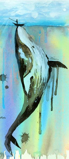 'Whalelala' by Lora Zombie - Fine Art Prints available in a variety of formats at Eyes On Walls - http://www.eyesonwalls.com/collections/fine-art-prints/artist-lora-zombie?utm_source=pinterest&utm_medium=ads&utm_content=Whalelala&utm_campaign=Lora%20Zombie