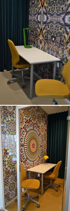 Active Offices decorated by Kinnarps using our wallpaper Geometric Pattern. The office furniture is from Kinnarps.