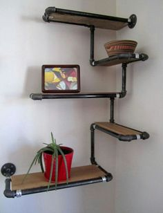 Pipe Wall Shelf with Reclaimed Wood Custom Pipe Shelves. Made To Order Corner Sh. Pipe Wall Shelf with Reclaimed Wood Custom Pipe Shelves. Made To Order Corner Shelf Reclaimed Fir a Industrial Pipe Shelves, Wood Shelves, Industrial Furniture, Pipe Shelving, Industrial Lighting, Industrial Apartment, Industrial Table, Industrial Farmhouse, Plumbing Pipe Furniture