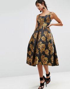 ASOS | ASOS SALON - Jolie robe de soirée mi-longue ornée de fleurs dorées