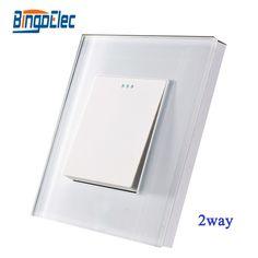 8.80$  Watch here - http://alib7o.shopchina.info/go.php?t=32688284610 - EU/UK 1gang 2way push pull switch,crystal toughened glass panel,AC110-250V,Hot sale 8.80$ #shopstyle