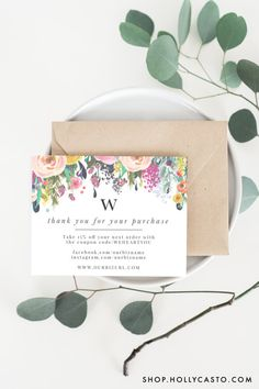 INSTANT Business Thank You Cards Editable PDF Printable Packaging - Business thank you card template