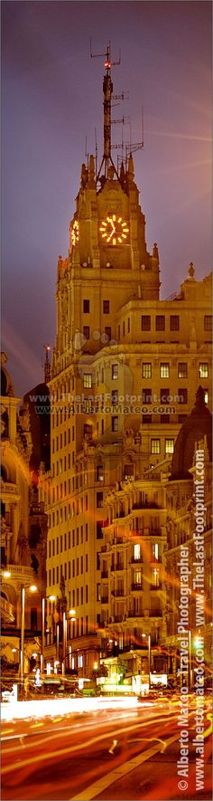 Telefonica Building at dusk, Gran Via, Medrid, Spain. Photograph by Alberto Mateo, Travel Photographer.