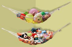 These hammocks that let you store stuffed animals and toys in the air. These ham. These hammocks that let you store stuffed animals and toys in the air. These hammocks that let you Toy Hammock, Hammocks, Toddler Toys, Kids Toys, Storing Stuffed Animals, Stuffed Toys, Nursery Organization, Creative Storage, Toy Rooms
