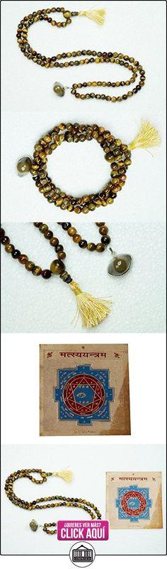 Collar de ojo de tigre Ágata tercer ojo Shiva Oración Bead Mala con libre Matsya Yantra  ✿ Joyas para niñas - Regalos ✿ ▬► Ver oferta: https://comprar.io/goto/B01E6NNXXM