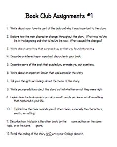 Book Club Assignments *make my own multiple intelligence version 4th Grade Books, 3rd Grade Reading, Kids Book Club, Book Club Books, Book Clubs, Reading Club, Teaching Reading, Reading Books, Guided Reading