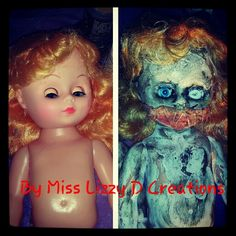 Diy evil halloween creepydolls creepy scary dolls Possessed deaddolls dead zombiedolls wicked gothic psychobilly diy evil dolls gore guts bloody organs bloody scars Crafts by Miss Lizzy D Creations
