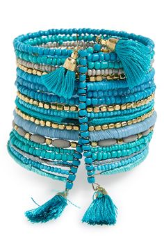 This beaded blue boho bracelet offers a look that's full-on free spirit.