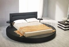 Black Leatherette Round Platform Bed w/Attached Nightstands
