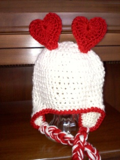 I Heart You Valentine  Earflap Hat with by HotOffTheHookCrochet, $26.00