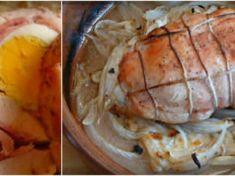 Do kuřecích prsou jsem vložila plátky sýra, šunky, slaniny, vajíčko a zabalila. Minimální množství ingrediencí a tak chutné!