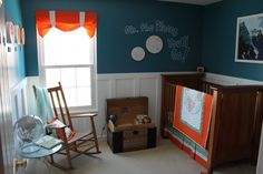 Baby Boy Nursery. I love the idea of breaking away from traditional baby colors. This has so much personality. The teal makes it relaxing, and the orange adds a pop of happiness!