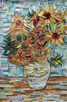 Tengase Presente: Cuadros famosos recreado con madera envuelto en papel de periódico colorido