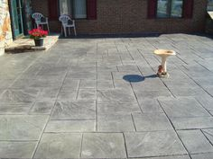 Stamped Concrete Patio Steel Grey with Dark Grey Release