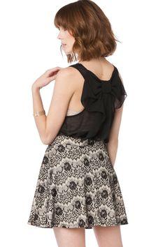 ShopSosie Style : Chiffon Coletta Bow Tank in Black