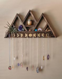 Large Triangle Shelf Jewelry Hanger – 30 Hooks Add this large jewelry hanger shelf to your home and display your crystal collection and jewelry in [. Room Ideas Bedroom, Bedroom Decor, Decor Room, Triangle Shelf, Ideias Diy, Crystal Shelves, Diy Décoration, Diy Crafts, Aesthetic Room Decor