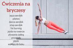 Aby zwalczyć bryczesy na udach, należy wykonywać ćwiczenia wyszczuplające tę partię ciała. Trening obejmuje m.in.: przysiady sumo, wykopy w bok i jeden z wariantów deski (z unoszeniem nogi). Oprócz ćwiczeń modelujących nogi warto wykonywać trening cardio i rozważyć wprowadzenie zmian do nawyków żywieniowych. Step Aerobik, Pilates, Cardio, Ballet Skirt, Dance, How To Plan, Sports, Pop Pilates, Dancing