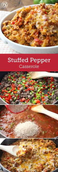 Pepper Casserole Enjoy all the comforting flavors of stuffed peppers without the fuss by making this easy beef and rice casserole. If you can't find extra-lean beef, drain off extra grease once the peppers have softened.Enjoy all the comforting flavors of Rice Casserole, Casserole Recipes, Crockpot Recipes, Cooking Recipes, Healthy Recipes, Unstuffed Pepper Casserole, Zuchinni Casserole, Green Pepper Casserole, Unstuffed Peppers