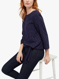 Buy White Stuff Mila Tie Top, Ink Navy Print from our Women's Shirts & Tops range at John Lewis & Partners. White Stuff, Tailored Trousers, Navy Tops, Simple Style, Ties, Ankle Boots, Delicate, Neckline, Silhouette