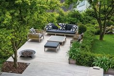 outdoor living space in a small garden, separated by elevation & colour, by photographer Miquel Tres Outdoor Rooms, Outdoor Areas, Outdoor Living, Garden Cottage, Home And Garden, Ideas Terraza, Garden Landscape Design, Nice Landscape, Outside Living