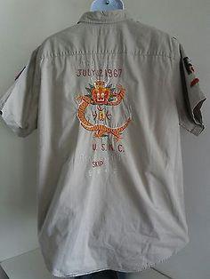 Vintage POLO RALPH LAUREN Mens XL Military Shirt Embroidered Dragon USNC SKIP RL