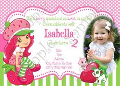 Strawberry Shortcake Birthday Party Invitation, FREE thank you card | PapelPintadoDesigns - Digital Art on ArtFire
