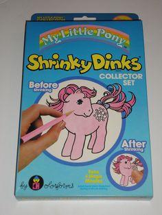 Vintage My Little Pony Shrinky Dinks Collectors Set - NIB 1983 Hasbro Colorforms MLP. $30.00, via Etsy.