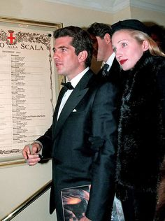 John Kennedy Jr. and Carolyn Kennedy attending the Opera! Loved them, they were so chic and elegant!