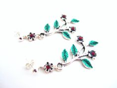 Branches earrings twigs and flowers post by MalinaCapricciosa, $12.00