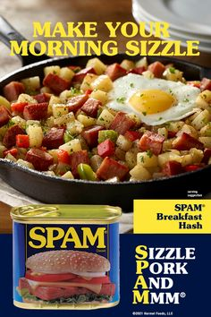 Add sizzle, pork, and mmm to your breakfast. Shop in-store or online for a spam-filled breakfast. Breakfast Hash, Homemade Breakfast, Nutrition Tips, Spam, Diy Food, Brunch Recipes, Good Food, Pork, Food And Drink