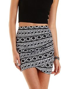 Tribal Print Ruched Mini Skirt by Charlotte Russe - Black/White