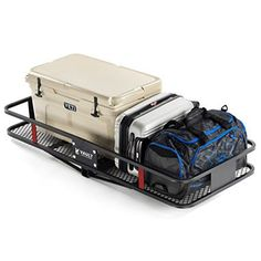 """60"""" x 24"""" Cargo Hitch Carrier by Vault - Haul Your Cooler & Camping Gear with this Rugged Steel Constructed Storage Rack & Basket for Your Truck, SUV, or Jeep - Easily Mounts to Towing Hitches. For product info go to:  https://www.caraccessoriesonlinemarket.com/60-x-24-cargo-hitch-carrier-by-vault-haul-your-cooler-camping-gear-with-this-rugged-steel-constructed-storage-rack-basket-for-your-truck-suv-or-jeep-easily-mounts-to-towing-hitch/"""