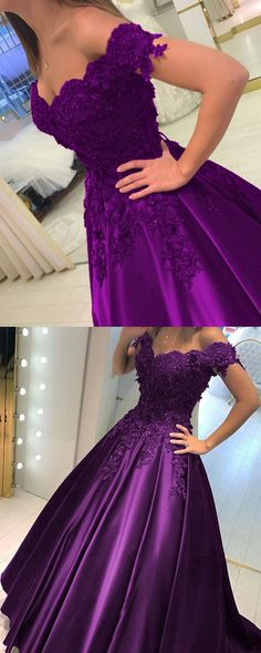 Grape Satin Ball Gowns Prom Dresses V-neck Off The Shoulder Quinceanera Dresses