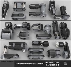 ArtStation - 3d Hard Surface Kitbash - Actuators and Joints, Aaron Deleon