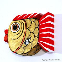 Red And Gold Painted Wood Fish Art Wall Hanging by TaylorArts