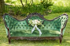 This jade beauty will make you wedding come to life!!! Vintage settee available for rent!