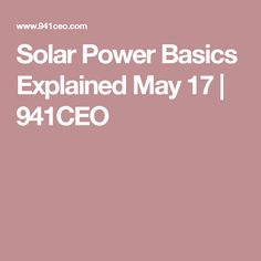 Solar Power Basics E