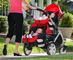 B-READY stroller with two CHAPERONE infant car seats in Red
