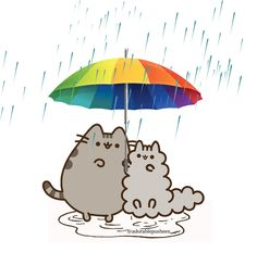 Best friends enjoys sharing an umbrella any day ☔ Pusheen Love, Pusheen Cat, Pusheen Stuff, Cute Kawaii Drawings, Cute Baby Animals, Journal Cards, Cute Wallpapers, Crochet, Childhood Memories