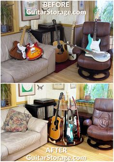 #guitar clutter? no thanks. #organize d living room, with guitars, and nice new piece of furniture to boot? yes please! all thanks to the Carousel™ Deluxe Multiple Guitar Stand, available at https://guitarstorage.com/shop/multiple-guitar-stand-carousel/
