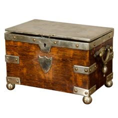 View this item and discover similar for sale at - century silver bound oak tea caddy with engraved top and two internal compartments. Vintage Bags, Vintage Tea, Vintage Shops, Pallet Crates, Antique Chest, Blanket Box, Tea Canisters, Drinks Cabinet, Trunks And Chests