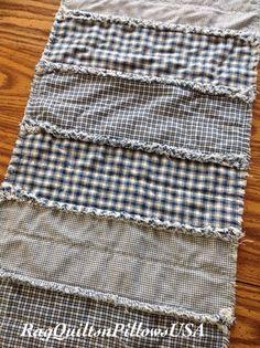 Blue Rag Quilted Strip Table Runner - Handmade Country Runner- Homespun Runner - Homemade Country Blue Runner - Farmhouse - Primitive - Folk