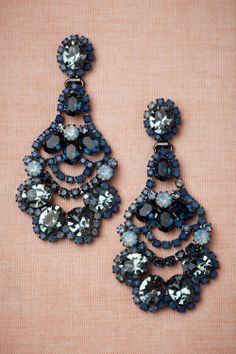 Beautiful deep blue crystal chandelier/drop earrings. Perfect for adding extra dimension to an otherwise simple ensemble.