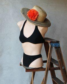 Black Honey Comb Texture Spandex Bikini Bottom by MovieStarMoon