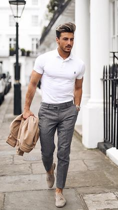 With-Casual-Style/ white polo shirt outfit, polo shirt outfits, polo ou White Polo Shirt Outfit, Polo Shirt Outfits, Polo Shirt Style, Polo Shirt Design, Business Casual Men, Business Outfits, Business Attire, Outfit Hombre Casual, Mens Casual Dress Outfits