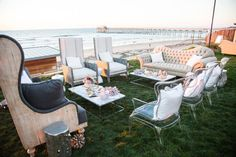 A stunning beachside lounge for this modern La Jolla wedding.  Design by Alchemy Fine Events