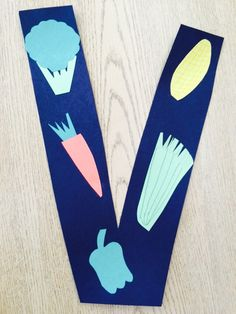 Letter V preschool craft. V is for vegetables!